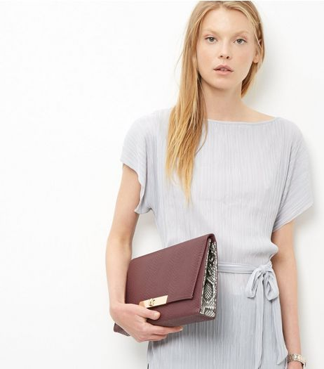 Burgundy Snakeskin Textured Clutch  | New Look