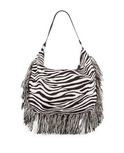 Black Zebra Print Fray Trim Shoulder Bag  | New Look