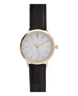 Black Leather Strap Watch | New Look