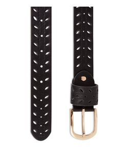 Black Laser Cut Out Jeans Belt  | New Look