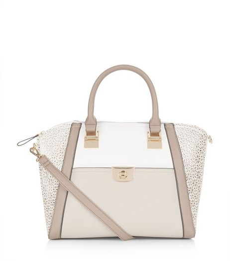 White Daisy Cut Out Panel Shoulder Bag  | New Look