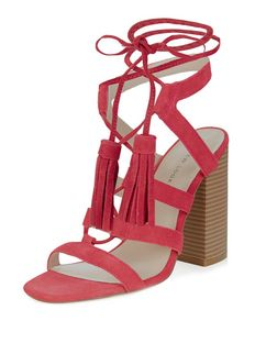 Pink Suede Tassel Ghillie Block Heels | New Look