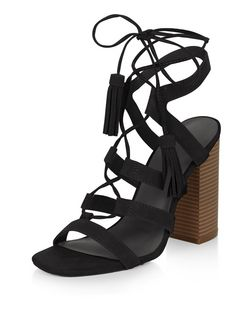 Black Suede Tassel Ghillie Block Heels  | New Look
