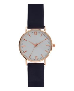 Navy Leather-Look Strap Watch | New Look