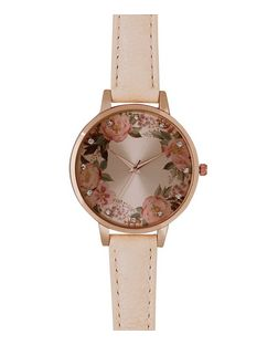 Mid Pink Floral Print Face Watch | New Look