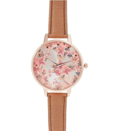 Light Brown Floral Print Leather-Look Strap Watch | New Look