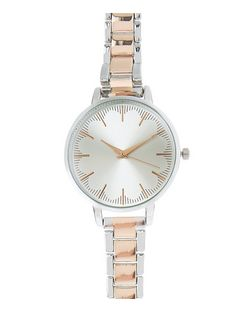 Silver and Rose Gold Plated Scallop Sports Watch | New Look