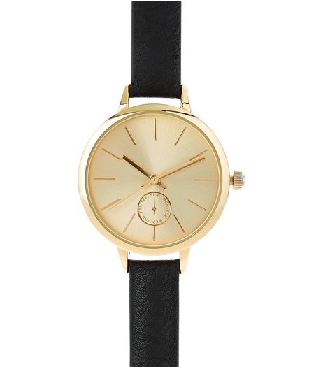 Black Leather-Look Skinny Strap Watch | New Look