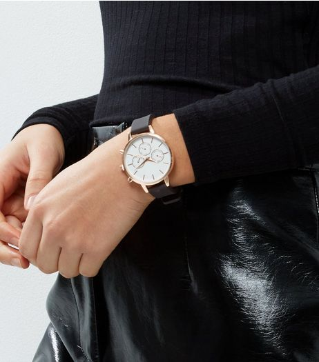 Black Silcone Strap Watch | New Look