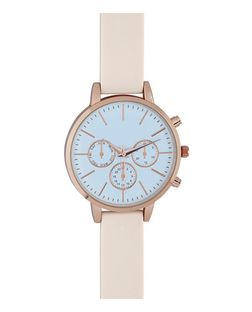 Mid Pink Silicone Strap Contrast Face Watch  | New Look