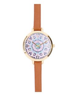 Tan Tile Print Skinny Strap Watch | New Look