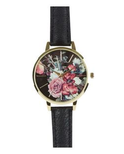 Black Leather-Look Floral Print Watch | New Look