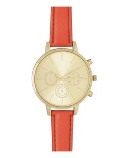 Orange Leather-Look Skinny Strap Watch | New Look