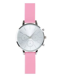 Neon Pink Silicone Strap Watch | New Look