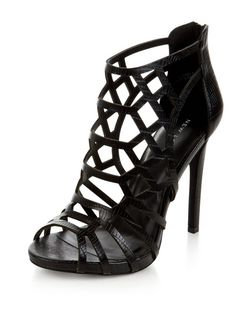 Black Laser Cut Out Peep Toe Heels  | New Look