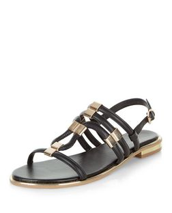 Black Metal Trim Sling Back Sandals  | New Look