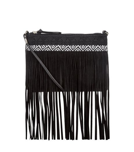 Black Crochet Tassel Trim Across Body Bag | New Look