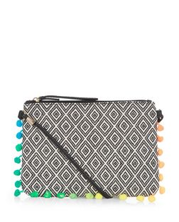 Black Aztec Knit Pom Pom Trim Across Body Bag  | New Look