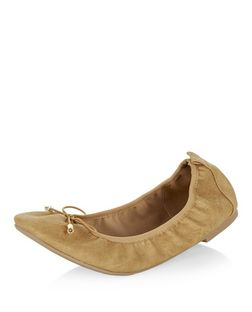 Wide Fit Camel Elasticated Ballet Pumps  | New Look