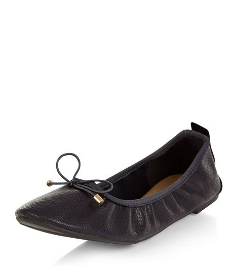 Wide Fit Navy Patent Elasticated Ballet Pumps  | New Look