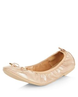 Wide Fit Bronze Elasticated Ballet Pumps | New Look