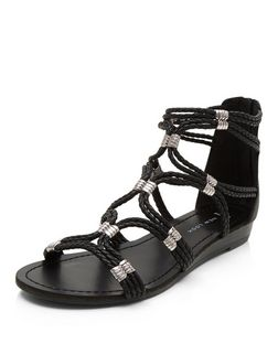 Wide Fit Black Plaited Strap Sandals  | New Look