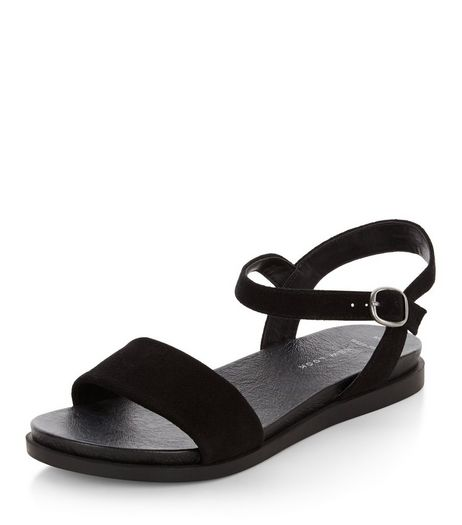 Wide Fit Black Suede Textured Sandals | New Look
