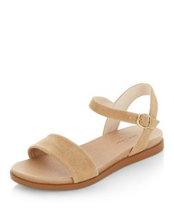 Wide Fit Camel Suede Textured Sandals  | New Look