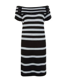 Blue Vanilla Black Stripe Bardot Neck Jumper Dress | New Look