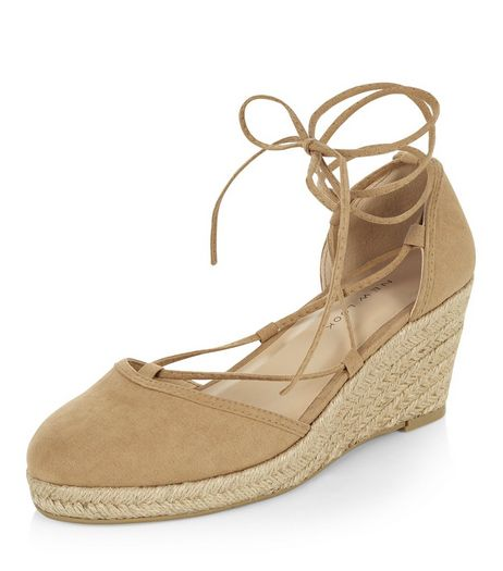 Stone Suedette Espadrille Wedges  | New Look