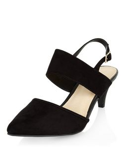 Wide Fit Black Comfort Pointed Sling Back Mid Heels  | New Look