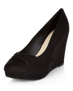 Wide Fit Black Comfort Suedette Knotted Wedges  | New Look
