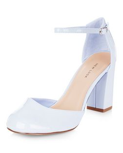 Pale Blue Patent Ankle Strap Block Heels | New Look