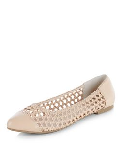 Wide Fit Camel Woven Pointed Pumps  | New Look
