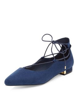 Wide Fit Navy Suedette Metal Trim Ghillie Sandals  | New Look
