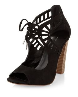Black Suedette Laser Cut Out Tie Front Block Heels  | New Look