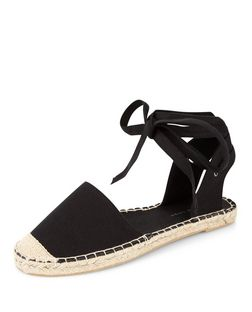 Wide Fit Black Canvas Lace Up Espadrilles | New Look