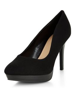 Wide Fit Black Canvas Court Shoes  | New Look