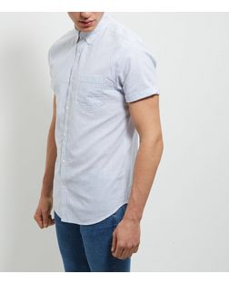 Pale Blue Stripe Single Pocket Roll Sleeve Shirt  | New Look