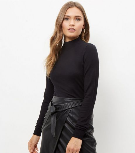 Black Stand Neck Jumper  | New Look