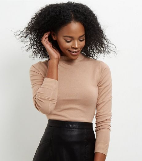 Camel Funnel Neck Jumper | New Look