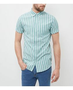 Green Stripe Short Sleeve Shirt | New Look