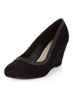 Wide Fit Black Comfort Woven Trim Wedges  | New Look