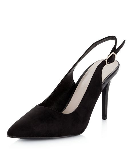 Black Comfort Pointed Sling Back Heels  | New Look