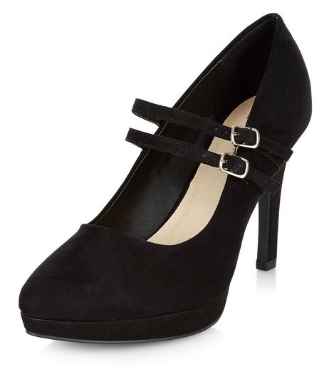 Wide Fit Black Comfort Double Strap Platform Heels  | New Look