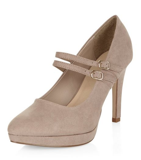 Wide Fit Light Brown Comfort Double Strap Platform Heels  | New Look