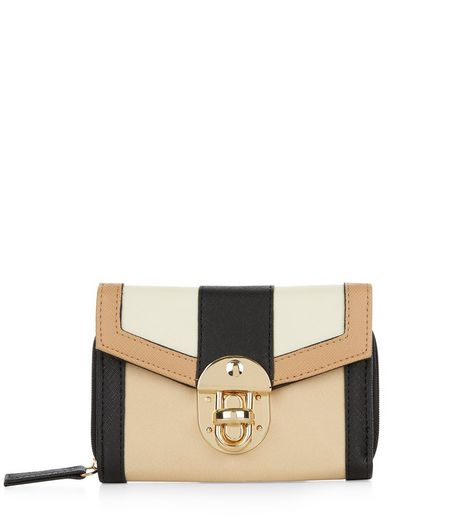 Camel Colour Block Push Lock Purse  | New Look