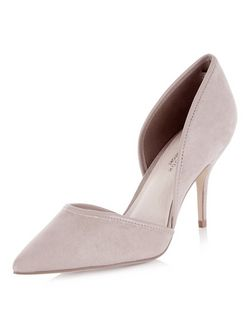 Wide Fit Grey Comfort Cut Out Pointed Heels  | New Look