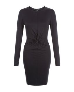 Black Twist Front Bodycon Dress  | New Look