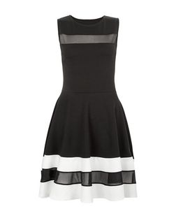 Cameo Rose Black Contrast Mesh Panel Skater Dress | New Look